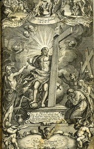 Resurrection of Jesus on the title page of a Luther Bible, 1769